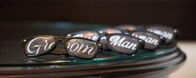 Cute and fun wedding sun Glasses. Cute and fun man wedding sun Glasses Stock Images