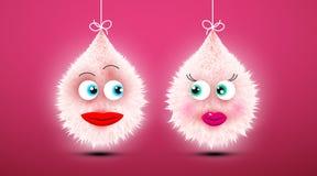 Cute Funky Shaggy Fluffy Toys in Love. Vector Cartoon stock illustration