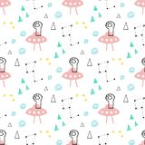 Cute and funny aliens seamless vector pattern royalty free stock photo