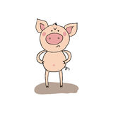 Cute funny angry pig in cartoon style. Cute angry pig in cartoon style. Funny vector illustration on white background Royalty Free Stock Image