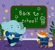 Cute funny animal students in the calssroom, back to school concept, elephant and fox pupil animals in school uniform Stock Image