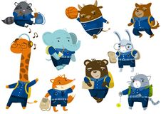 Cute funny animal students set, back to school concept, pupil animals in school uniform vector Illustrations royalty free illustration