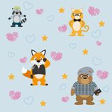 Cute and funny animals background pattern. Vector illustration graphic design Stock Photo