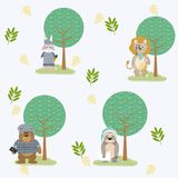 Cute and funny animals background pattern. Vector illustration graphic design Stock Images