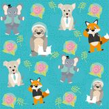 Cute and funny animals background pattern. Vector illustration graphic design Stock Image