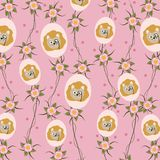 Cute and funny animals background pattern. Vector illustration graphic design Royalty Free Stock Images
