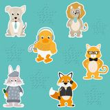 Cute and funny animals background pattern. Vector illustration graphic design Royalty Free Stock Photos