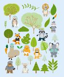 Cute and funny animals cartoons. Vector illustration graphic design royalty free illustration