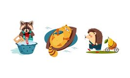 Cute funny animals characters in different actions, raccoon washing clothes in a basin, cat catching a fish in the boat. Hedgehog carrying the cart with pear vector illustration
