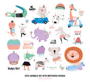 Cute Funny Animals and Motivated Wishes Set. White background. Vector. Good for posters, stickers, cards, scrapbook, alphabet and baby showers. Kids Royalty Free Stock Photos