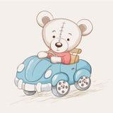 Cute funny bear drive a car royalty free illustration