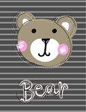 Cute funny bear face patch, applique for decoration kids clothing. Cartoon vector Illustration on striped background Royalty Free Stock Photo