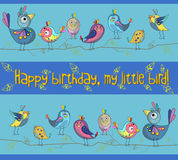 Cute and funny birds on a blue background. Greeting card. Vector illustration Royalty Free Stock Image