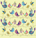 Cute and funny birds on a yelow background. Vector illustration Royalty Free Stock Photo
