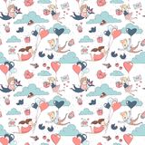 Happy Valentine`s Day seamless pattern boy girl flying heart balloons. Cute funny boy and girl characters flying by heart shape balloons seamless pattern for Royalty Free Stock Photos