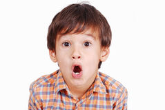 Cute funny boy with surprised face isolated Royalty Free Stock Photos