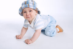 Cute funny boy on white Stock Photography