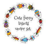 Cute funny bugs beetles insects round frame border. Cute colorful adorable doodle funny bugs beetles insects round frame border Stock Image