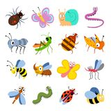 Cute and funny bugs, insects vector collection. Cartoon insects set stock illustration