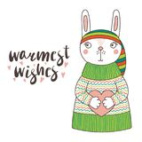 Cute funny bunny in a knitted hat and sweater. Hand drawn vector illustration of a cute funny bunny in a knitted striped hat and sweater, holding a heart, text Royalty Free Stock Photo
