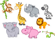 Cute funny cartoon animal. Cute funny animals set including giraffe, zebra, hippo, lion, elephant, snake, monkey and rhinoceros Stock Photo