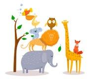 Cute funny cartoon animals Lion, giraffe, elephant, fox, owl. Royalty Free Stock Images