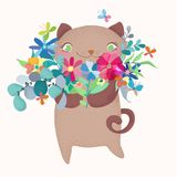 Cute and funny cartoon cat character with floral bouquet. Cartoon illustration over white background. Cute and funny curious  cat character Royalty Free Stock Images