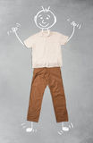 Cute funny cartoon character in casual clothes. Cute funny hand drawn cartoon character in casual clothes Stock Image