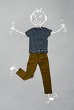 Cute funny cartoon character in casual clothes Royalty Free Stock Images