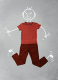 Cute funny cartoon character in casual clothes. Cute funny hand drawn cartoon character in casual clothes Stock Photo