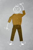 Cute funny cartoon character in casual clothes. Cute funny hand drawn cartoon character in casual clothes Stock Photography