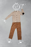Cute funny cartoon character in casual clothes. Cute funny hand drawn cartoon character in casual clothes Royalty Free Stock Photography