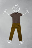 Cute funny cartoon character in casual clothes. Cute funny hand drawn cartoon character in casual clothes Stock Photos