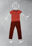 Cute funny cartoon character in casual clothes Stock Photos