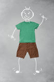 Cute funny cartoon character in casual clothes. Cute funny hand drawn cartoon character in casual clothes Stock Images