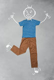 Cute funny cartoon character in casual clothes. Cute funny hand drawn cartoon character in casual clothes Royalty Free Stock Photos