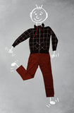 Cute funny cartoon character in casual clothes. Cute funny hand drawn cartoon character in casual clothes Royalty Free Stock Image