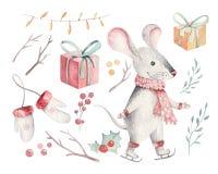 Cute funny cartoon christmas mouse christmas card. Watercolor hand drawn rat animal illustration. New Year 2020 holiday. Cute cartoon christmas rat mouse stock image