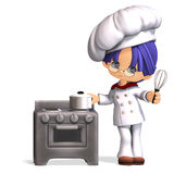 Cute and funny cartoon cook. 3D rendering with clipping path and shadow over white Royalty Free Stock Image