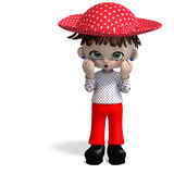 Cute and funny cartoon doll with hat Royalty Free Stock Photography