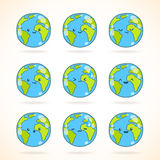 Cute funny cartoon Earth globe with face emotions Stock Photo