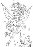 Cute funny cartoon  elf girl with beautiful wings Royalty Free Stock Image