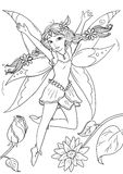 Cute funny cartoon  elf girl with beautiful wings Stock Photography