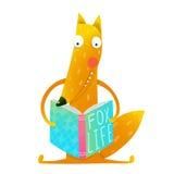 Cute funny cartoon fox reading book. Stock Images