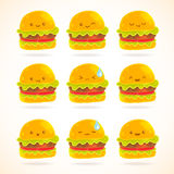 Cute funny cartoon hamburger with emotions set vector illustration
