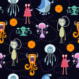 Cute funny cartoon monsters seamless pattern Royalty Free Stock Photos