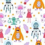 Cute funny cartoon monsters seamless pattern Stock Image