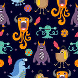 Cute funny cartoon monsters seamless pattern Royalty Free Stock Image