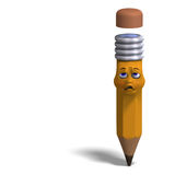 Cute and funny cartoon pen with a lovely face. 3D Royalty Free Stock Images