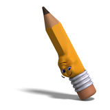 Cute and funny cartoon pen with a lovely face. 3D Stock Photos